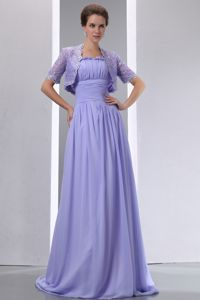 Chiffon Lilac Brush Train Mother Bride Dresses with Spaghetti Straps