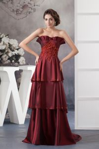 Brush Train Appliqued Wine Red Mother of the Bride Dress for Wedding