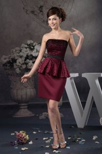 Beaded Wine Red Mini-length Mother Of Bride Dress in North Carolina