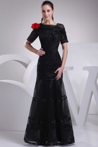 Mermaid Ruched Black other Bride Dress with Short Sleeves and Flower