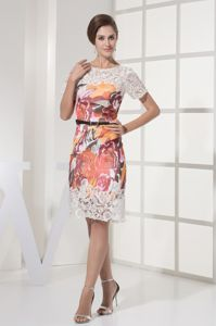 Printing Scoop Sashed Lace Mother Of Bride Dress with Short Sleeves