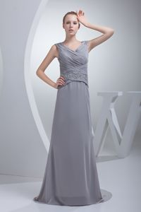 Ruched Beading Gray Brush Train Mother Dresses with V-neck under 200
