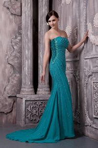 Beaded Teal Column Chiffon Court Train Mother Of Bride Dresses 2014
