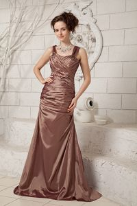 Brown Straps Mother Of The Bride Dress with Brush Train and Ruchings