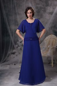 Chiffon Blue Square Beadings Mother Dresses with Butterfly Sleeves