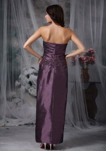 Dark Purple Ankle-length Mother Of The Bride Dress with Appliques