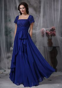 Square Chiffon Royal Blue Beaded Mother Of The Bride Dresses in Ohio