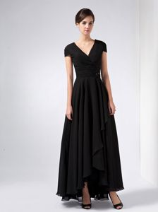 Ankle-length Black Sequined V-neck Chiffon Mother Of Bride Dresses