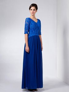 Lace Blue V-neck Ankle-length Mother Of The Bride Dress with Beading