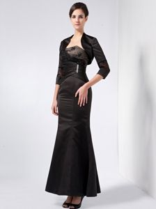 Ankle-length Black Mother Of The Bride Dresses with Lacework Beaded