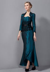 Ankle-length Turquoise Mermaid Mother Of The Groom Dresses with Sash