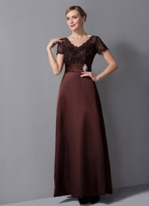 V-neck Burgundy Beaded Ankle-length Mother Of The Bride Dress 2013