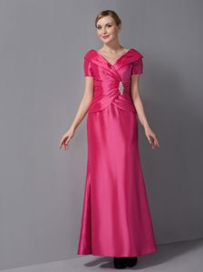 Hot Pink Ankle-length V-neck Mother Of The Bride Dress in Oklahoma