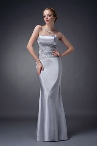 Appliques Lace Satin Mother Of The Bride Dress in Sliver for Cheap