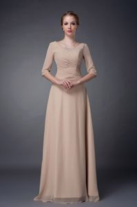 Champagne V-neck Beaded Mother Of The Bride Dress with Half Sleeves