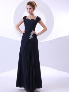 Appliques Navy Blue Ankle-length Straps Mother Of The Bride Dresses