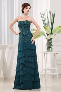 Beading Teal Column Chiffon Mother Of The Bride Outfits