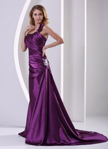 Court Train Purple One Shoulder Appliques Mother Of Bride Dresses