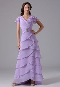 Layered V-neck Lavender Mother Of Bride Dress in Massachusetts USA