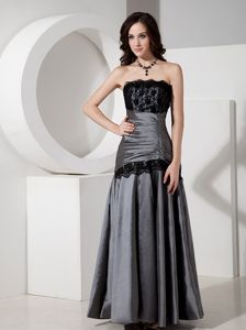 Lace Ruched Strapless Taffeta Silver Mother Bride Dress in Juneau