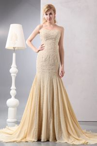 Mermaid Gold Sequins Beaded Train Chiffon Philadelphia Mother Dress