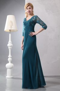 Lace Teal V-neck Chiffon 2014 Mother Bride Dresses in West Chester