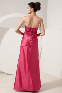 Beading Ruched Coral Red Satin Mother Bride Dresses in Pittsburgh