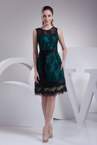 Black Lace Sash Teal Satin Mother of The Bride Dresses with Bow