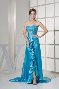 Embroidery Ruffles Ruched Slit Aqua Blue Mother Dress in Camp Hill