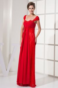 Lace Cap Sleeves Square Red 2014 New Mother Dresses in Harrisburg
