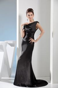 Mermaid Black Beaded Erie Mother Of Bride Dress with Side Zipper