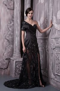 Black Lace One Shoulder Beaded Train Hillsboro Mother Bride Dress