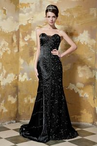 Sequins Appliques Beaded Brush Train Black Mother Dress in Medford