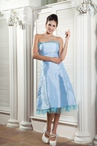 Taffeta Ruched Baby Blue Mother Of Bride Dresses in Lake Oswego