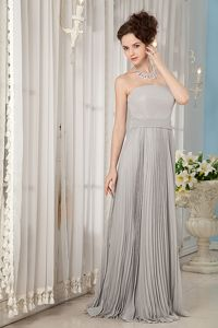 Pleated Grey Chiffon Brush Train Mother Bride Dress in Corvallis