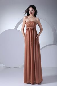 Beading Brown Chiffon Strapless Oklahoma Dresses for Bride Mother