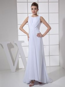Bateau White Ruched Brush Train Mother Dress for Wedding in Athens
