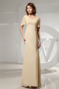 Short Sleeves Beading Champagne Mother Of Bride Dress in Bismarck