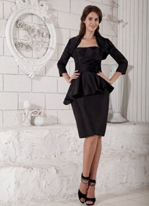 Layered Black Taffeta Hand Made Flower Mother Dress in Hickory