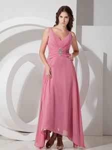 V-neck Beading Pink Chiffon North Carolina Mother Bride Dresses