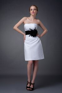White Flowers Belt Satin Mother Of The Bride Dress in Williamsville