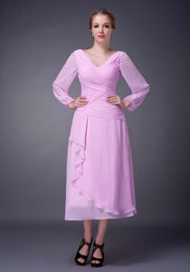 Chiffon Layered Pink V-neck Ruched Sleeves Boone Mother Bride Dress