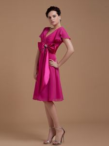Bowknot Fuchsia V-neck Mother Dress with Short Sleeves in Charlotte