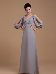 V-neck Grey Ruched Asheville Mother Of The Bride Dress with Sleeves