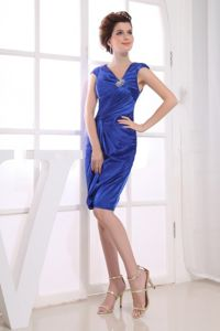 V-neck Ruched Royal Blue Lake George Mother Of The Bride Dresses