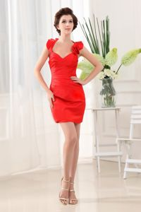 Halter Ruched Beading Red Taffeta New Mother Dresses in Hauppauge