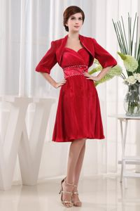 Beaded Wine Red Ruching Mother Of The Bride Dress in Binghamton