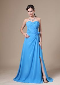 Flowers Teal High Slit Ruched Mother Of Bride Dresses in Taos