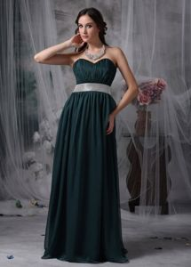 Sequin Belt Brush Train Dark Green Chiffon Mother Dress in Union