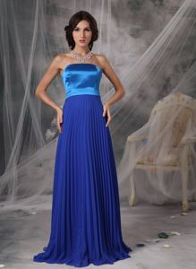 Pleated Royal Blue Strapless Mother Bride Dresses in Toms River